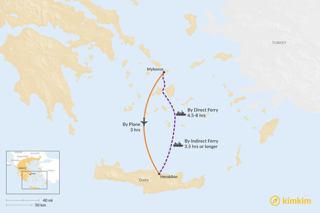 Map of How to Get from Mykonos to Crete