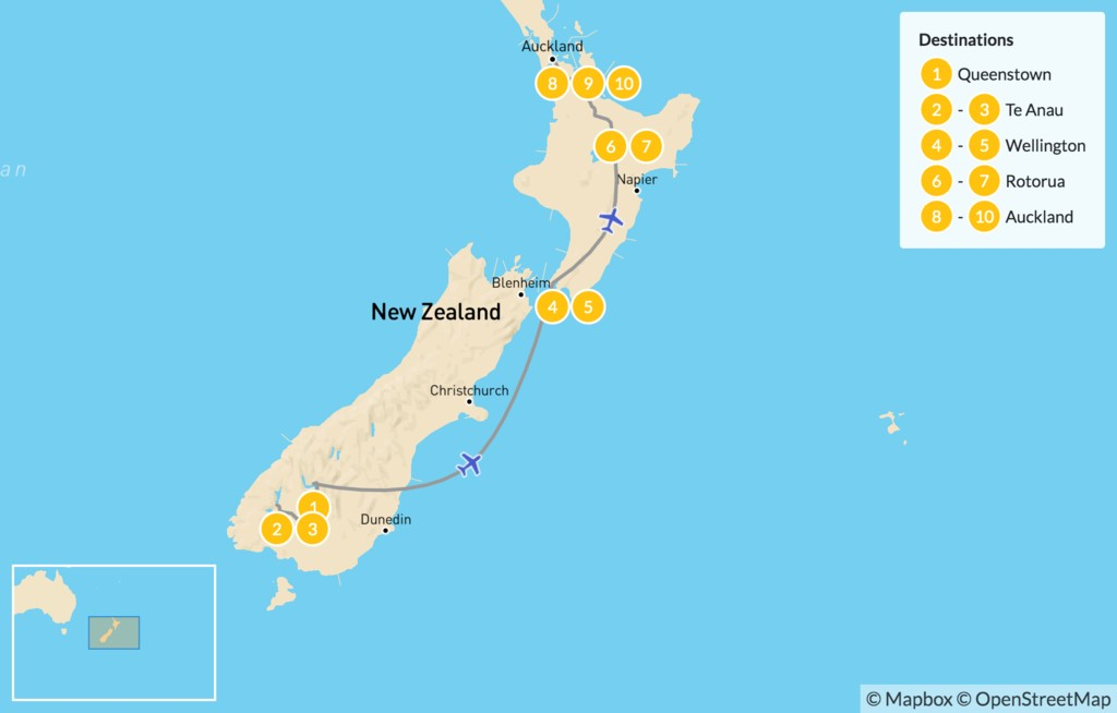 Map of Highlights of New Zealand - 10 Days