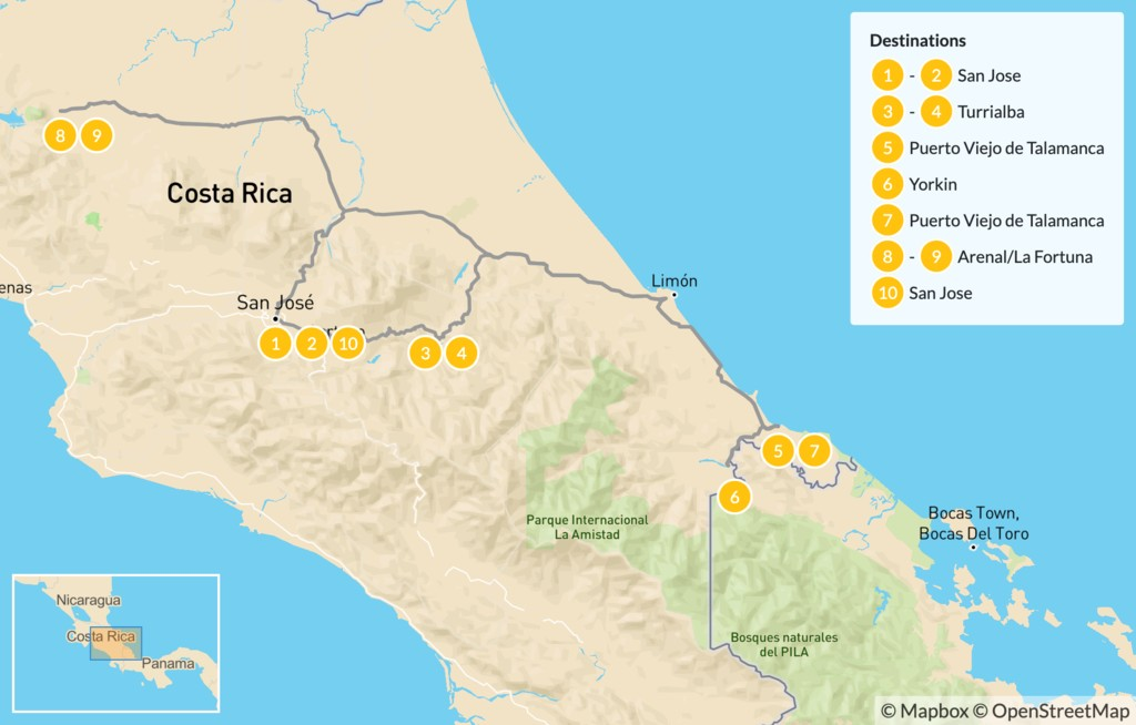 Map of Beaches, Rainforests & Cultural Exchange in Costa Rica - 11 Days