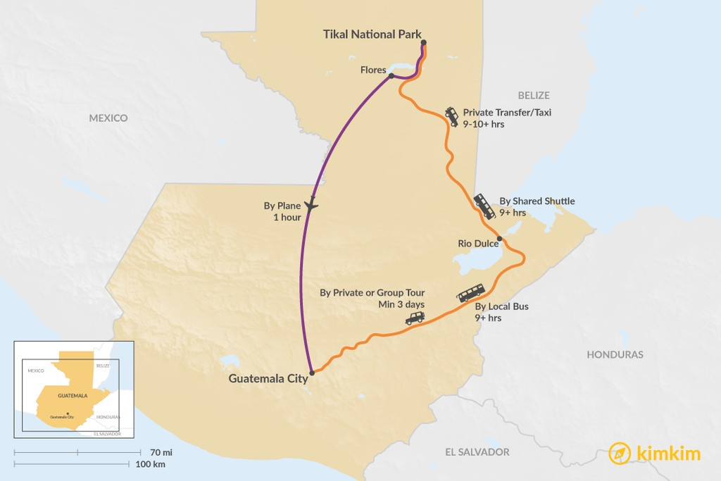 Map of How to Get from Tikal National Park to Guatemala City