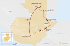 Map thumbnail of How to Get from Tikal National Park to Guatemala City