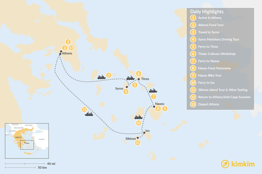 Map of Relaxing Secret Cyclades - 13 Days