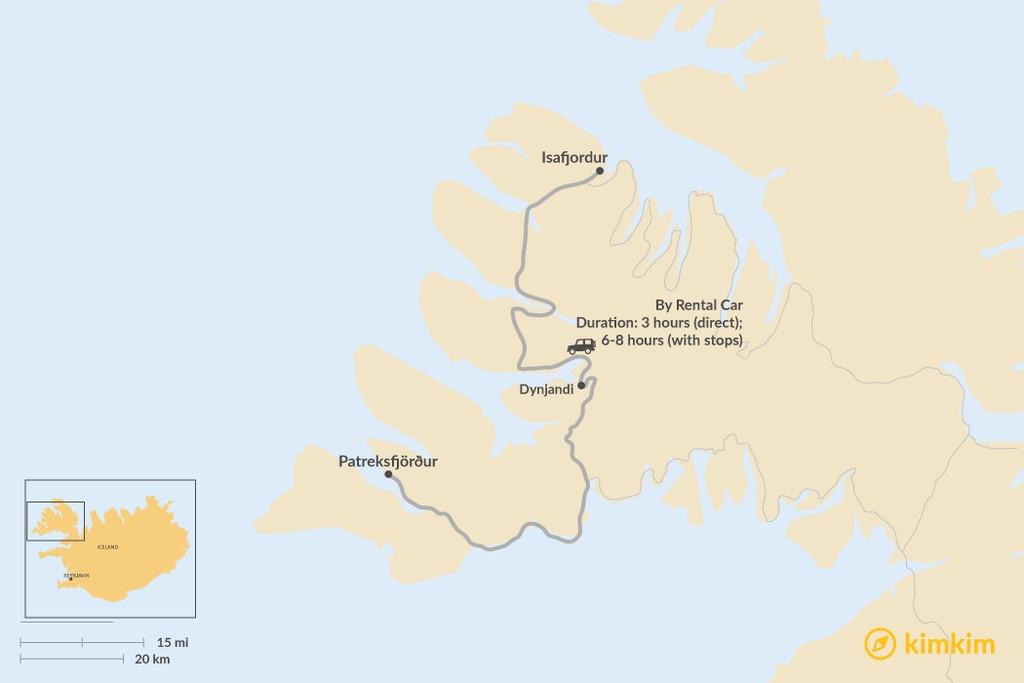 Map of How to Get from Patreksfjörður to Isafjordur