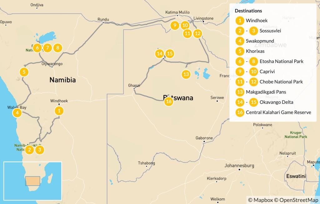 Map of Namibia & Botswana Safari Road Trip - 17 Days