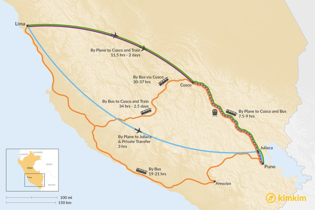 Map of How to Get from Lima to Puno