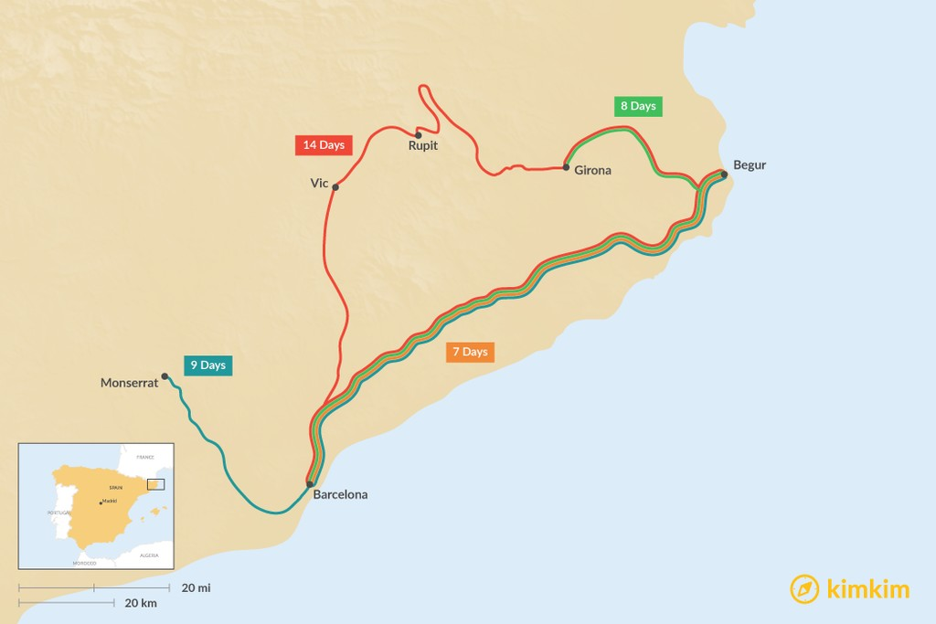 Map of Barcelona & the Costa Brava: Best Itinerary Ideas