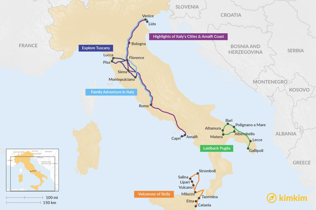 Map of 9 Days in Italy - 5 Unique Itinerary Ideas