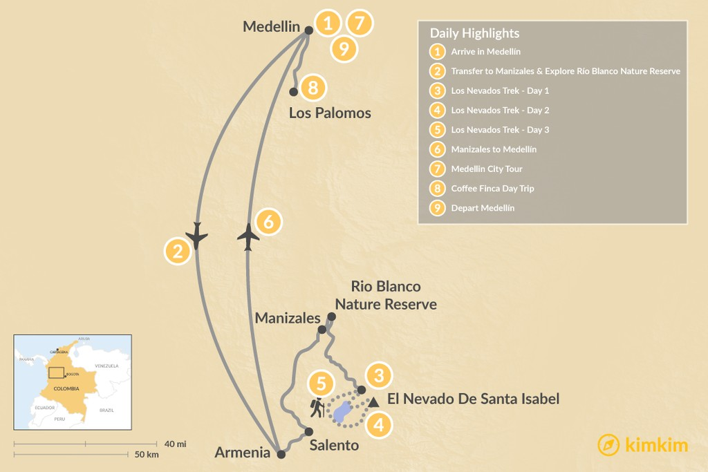 Map of Explore Colombia: Medellín & Los Nevados - 9 Days