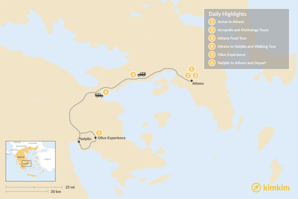 Map of Athens and Nafplio - 6 Days