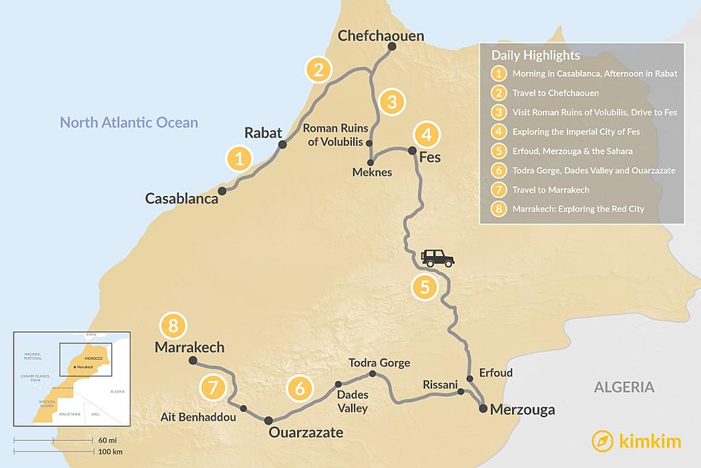 Map of A Taste of Morocco: Casablanca to Marrakech - 8 days
