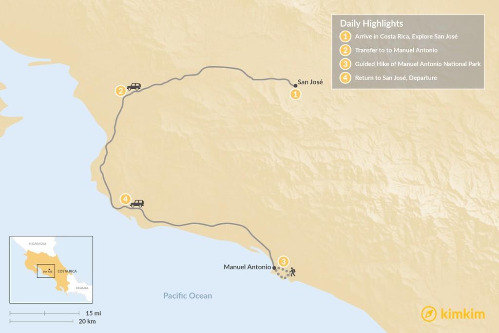 Map of San Jose and Manuel Antonio - 4 Days