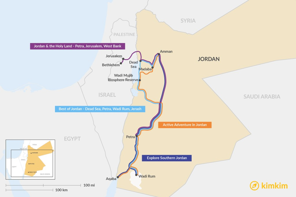 Map of 5 Days in Jordan - 4 Unique Itinerary Ideas