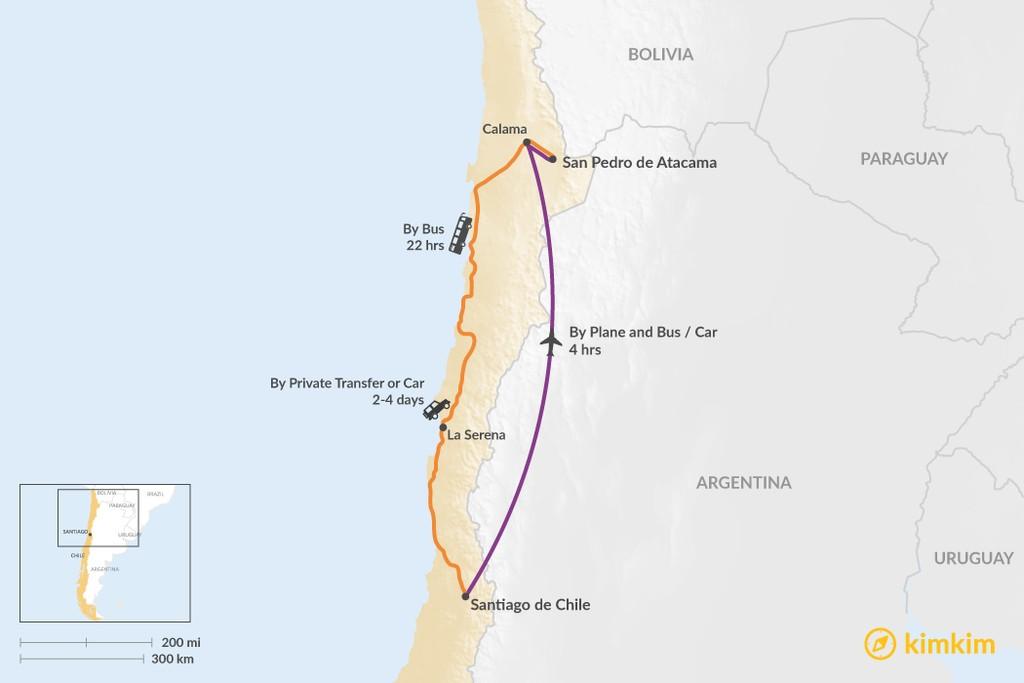 Map of How to Get from Santiago to the Atacama Desert