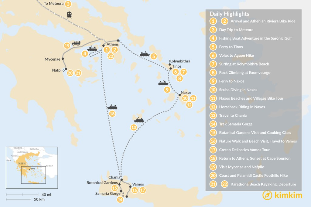 Map of Active Athens, Mainland Greece, Cyclades, and Crete - 22 Days