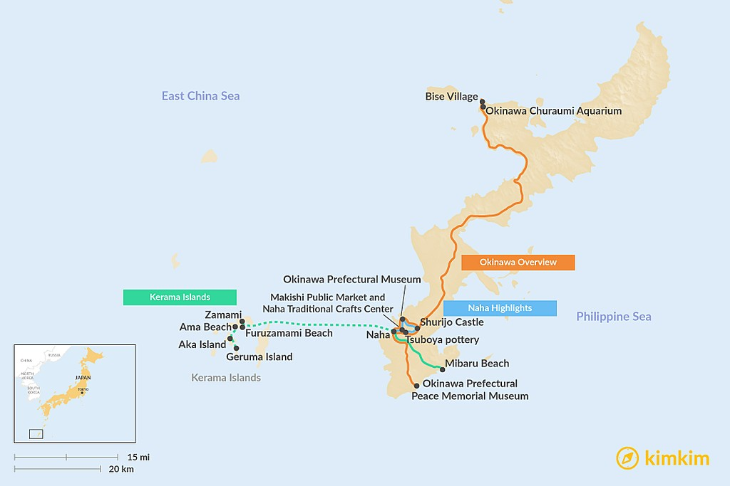 Map of How to Spend 3 Days on Okinawa