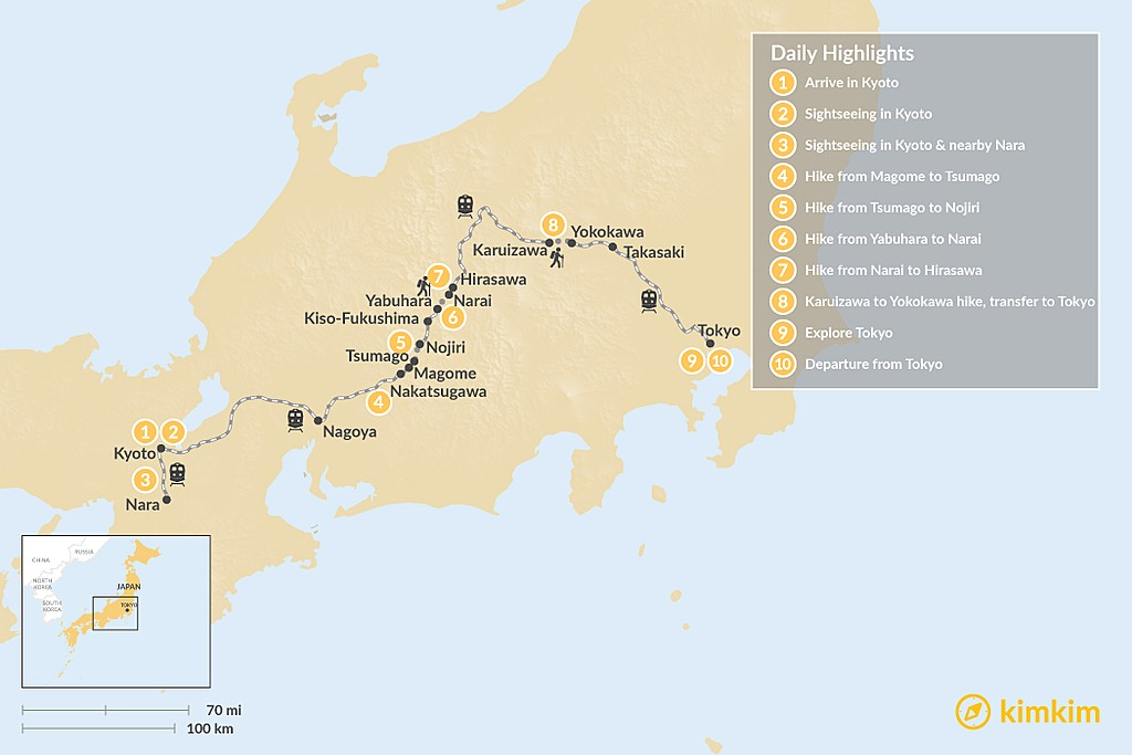Map of Self-Guided Walking Tour on the Nakasendo Trail - 10 Days