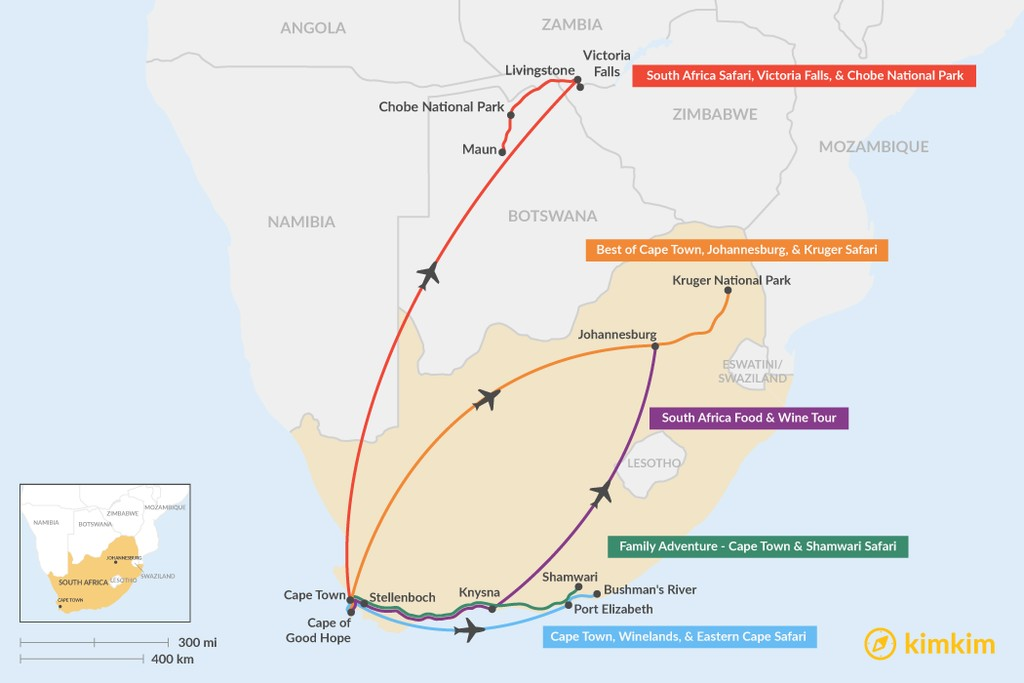 Map of 8 Days in South Africa - 5 Unique Itinerary Ideas