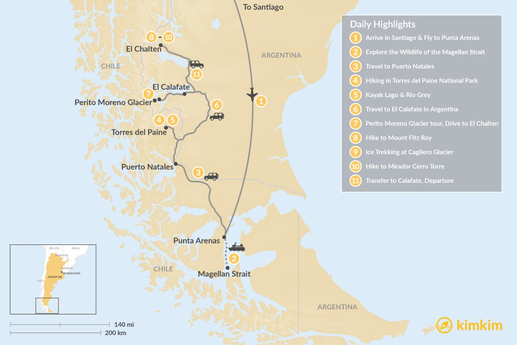 Map of Chilean & Argentine Patagonia: Active Multi-Sport Adventure Tour - 11 Days