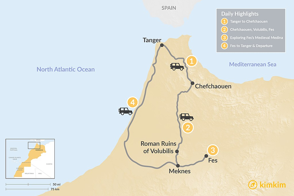Map of Northern Morocco Loop from Tangier - 4 Days