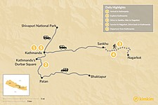 Map thumbnail of Nagarkot Trek & Kathmandu Tour - 5 Days