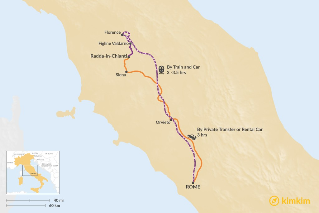Map of How to Get from Rome to Radda-in-Chianti