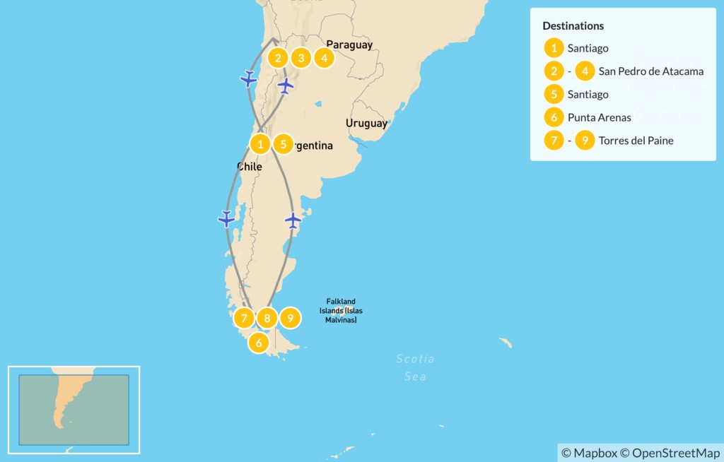 Map of Patagonia & Atacama Desert - 10 Days