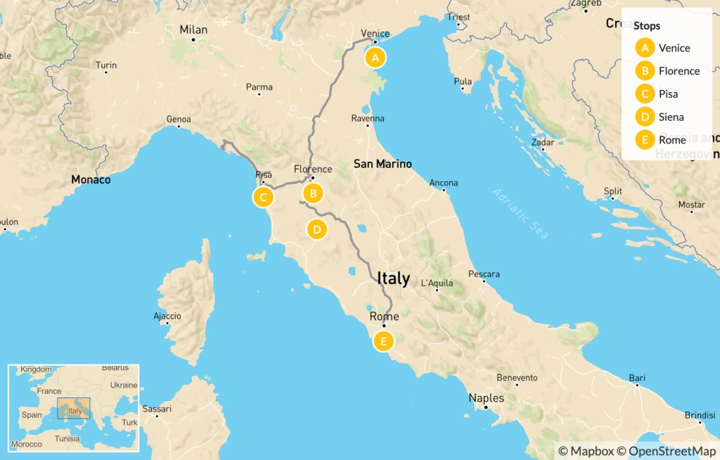 Map of Discover Venice, Tuscany, & Rome - 16 Days