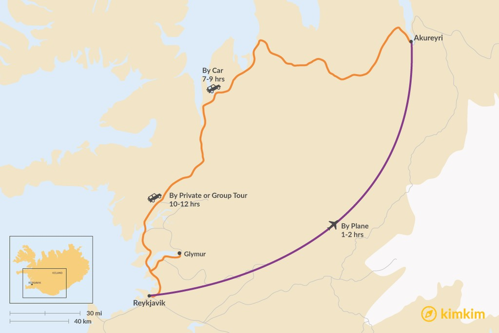 Map of How to Get from Reykjavik to Akureyri