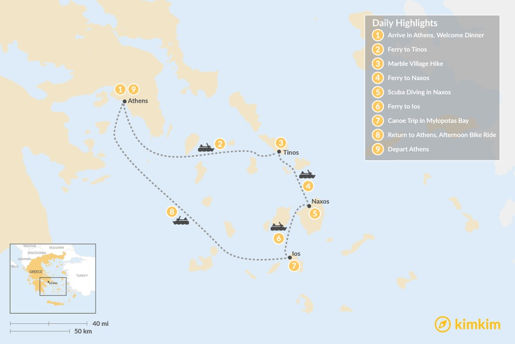 Map of Active Cyclades: Tinos, Naxos & Ios - 9 Days