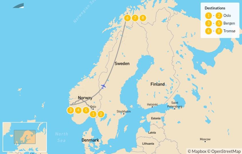 Map of Oslo, Bergen & Tromsø Winter Adventure - 9 Days