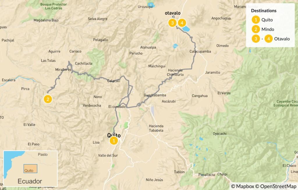 Map of Highlands of Ecuador - 5 Days