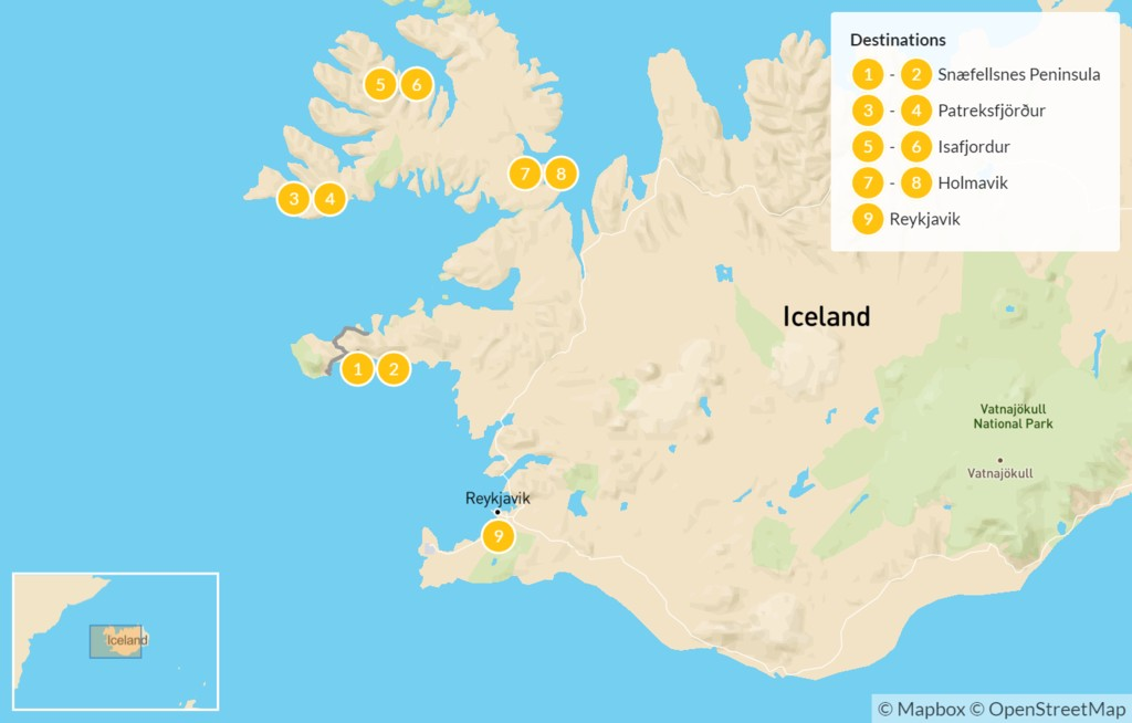 Map of Best of West Iceland & Scenic Westfjords - 10 Days