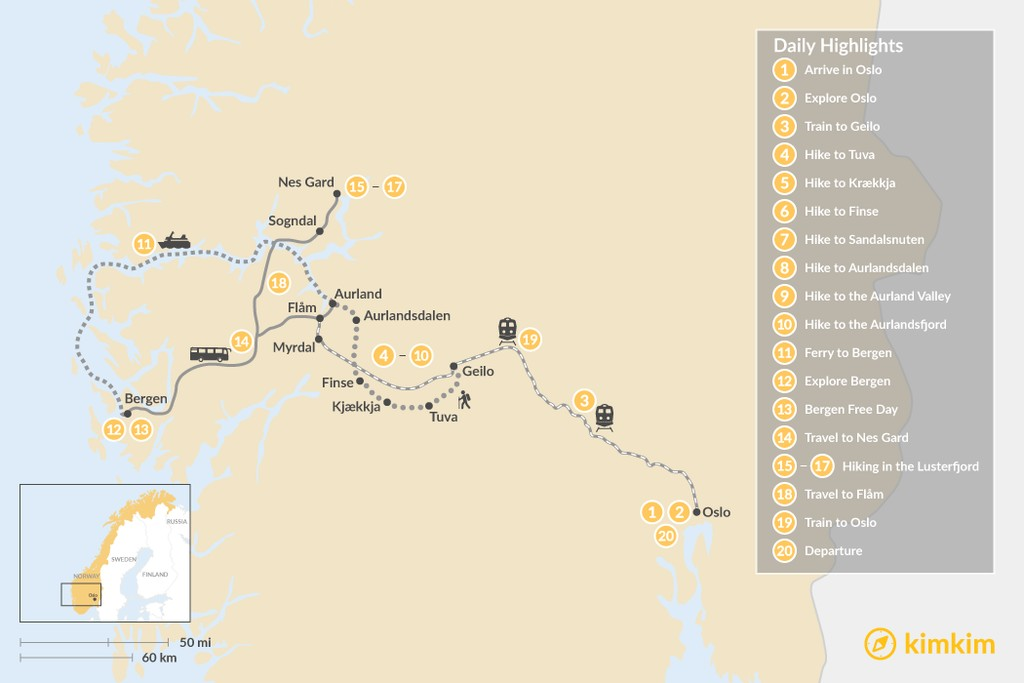 Map of Ultimate Summer Hiking Adventure in Norway - 20 Days