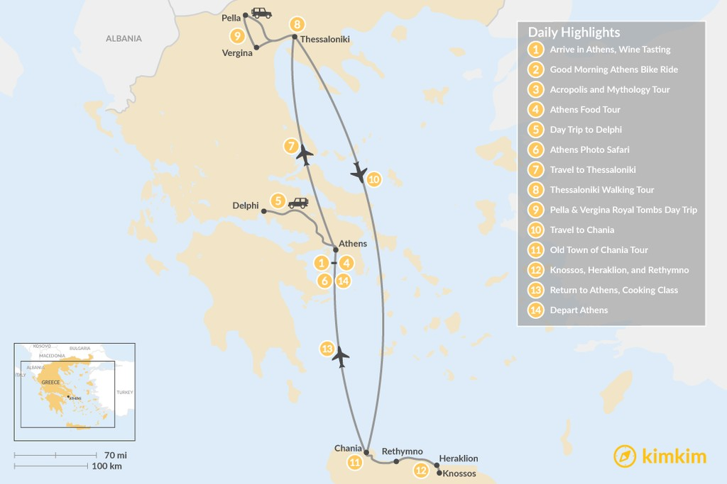 Map of Discover Athens, Thessaloniki & Crete - 14 Days
