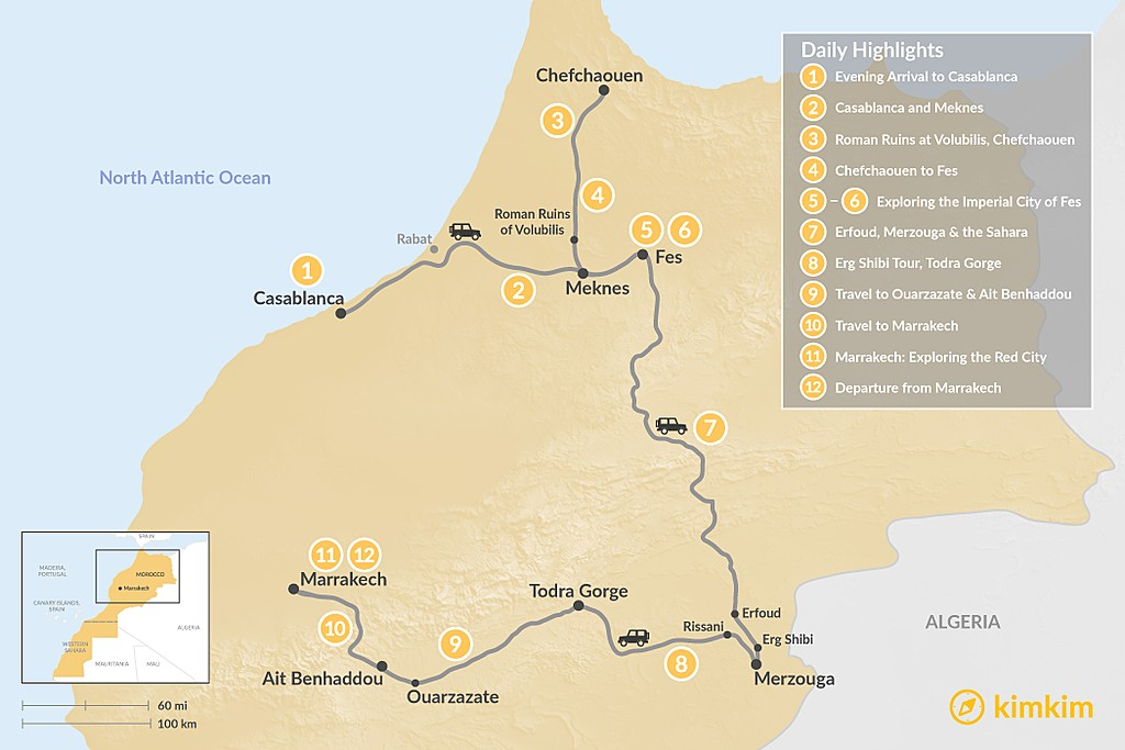 Map of Morocco Grand Tour: Casablanca to Marrakech - 12 Days