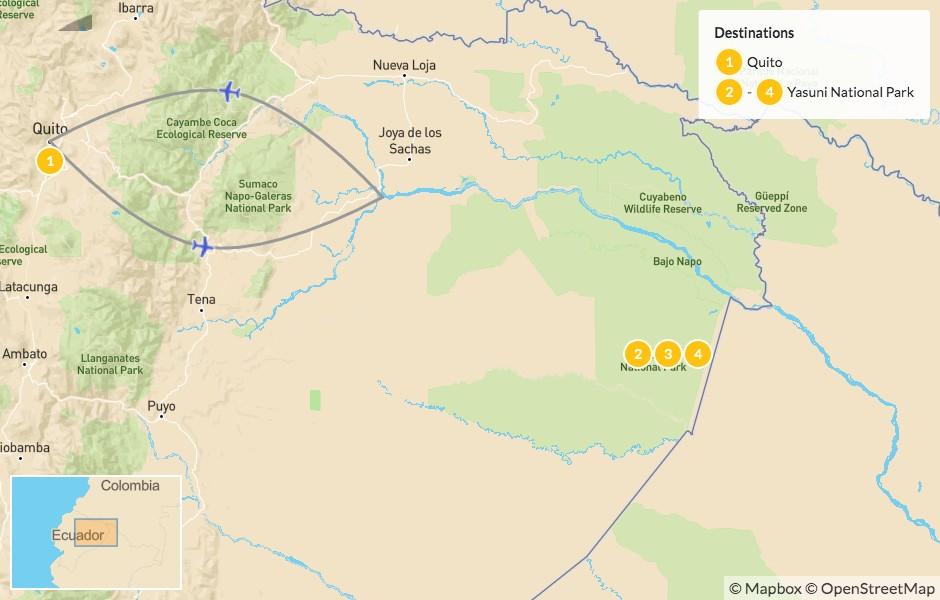 Map of Ecuadorian Amazon Adventure: Yasuní National Park - 5 Days
