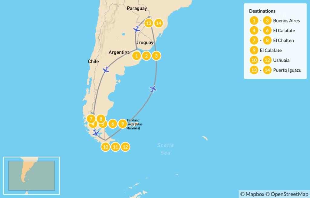 Map of Active Argentina Adventure: El Calafate, El Chaltén,  Ushuaia, Iguazú Falls - 15 Days