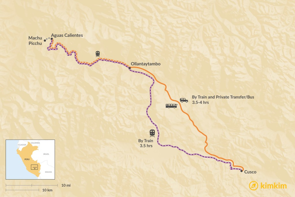 Map of How to Get from Aguas Calientes to Cusco