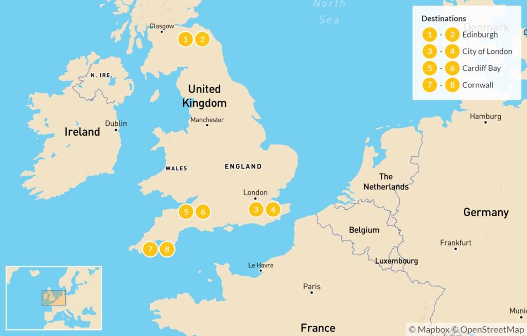 Map of UK Food Tour - 9 Days
