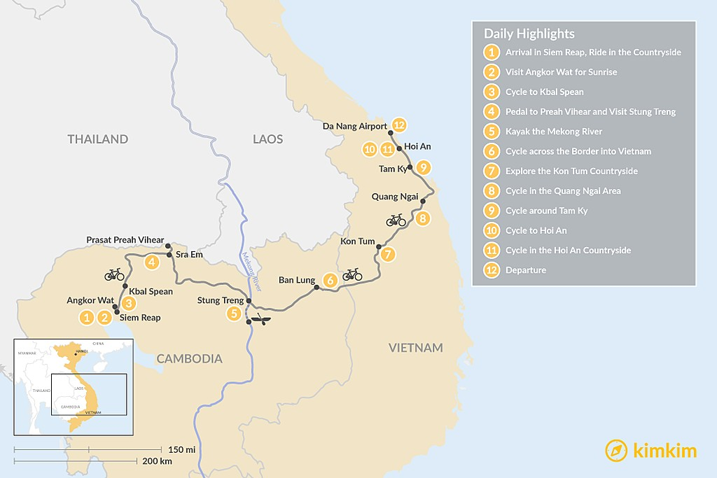 Map of Cycle through Cambodia and Vietnam - 12 Days