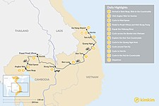 Map thumbnail of Cycle through Cambodia and Vietnam - 12 Days