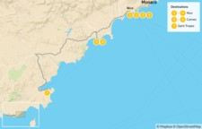Map thumbnail of Cities & Nature in the French Riviera: Nice, Cannes, Monaco, St. Tropez, & More - 8 Days
