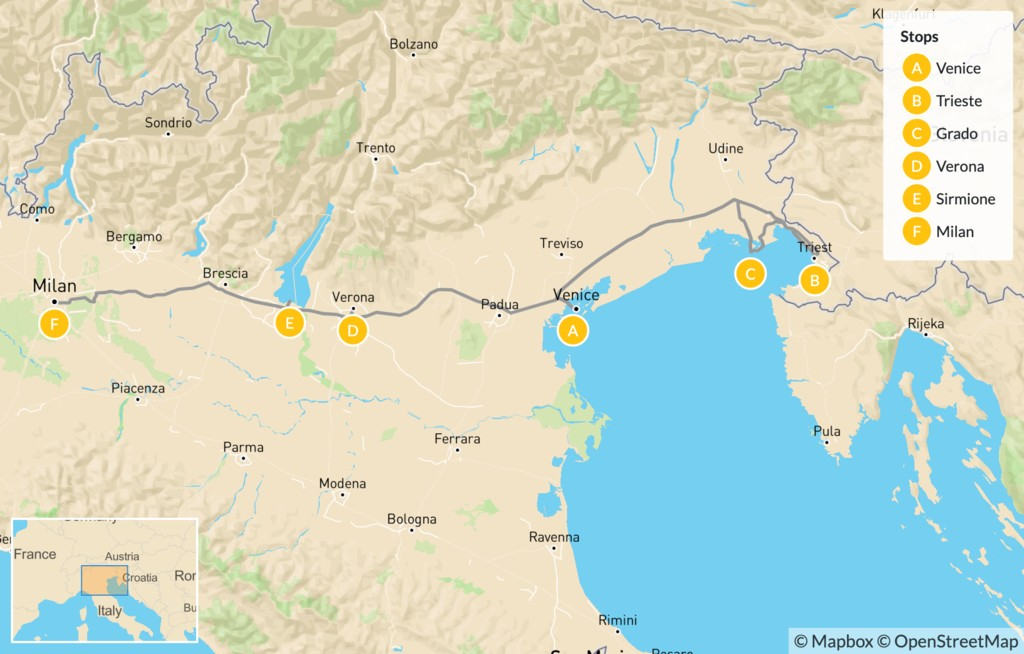 Map of Northeast Italy: Trieste, Venice, Verona, Lake Garda, & More - 14 Days