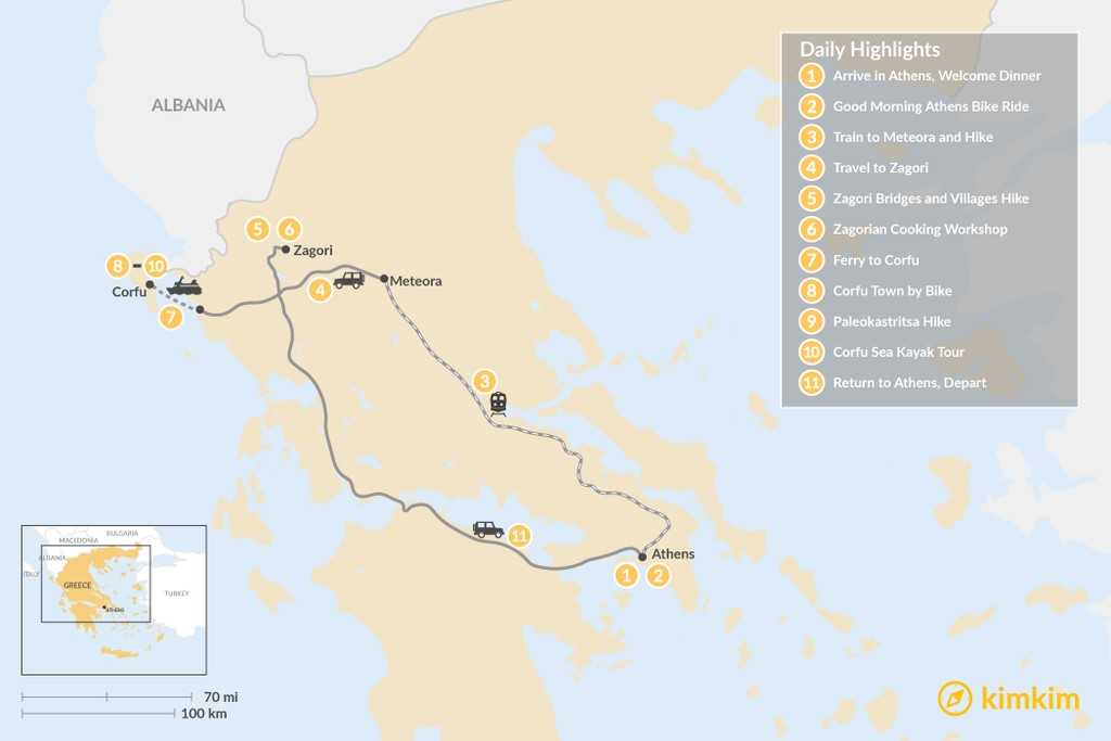 Map of Adventurous Athens, Central Greece, and Corfu - 11 Days