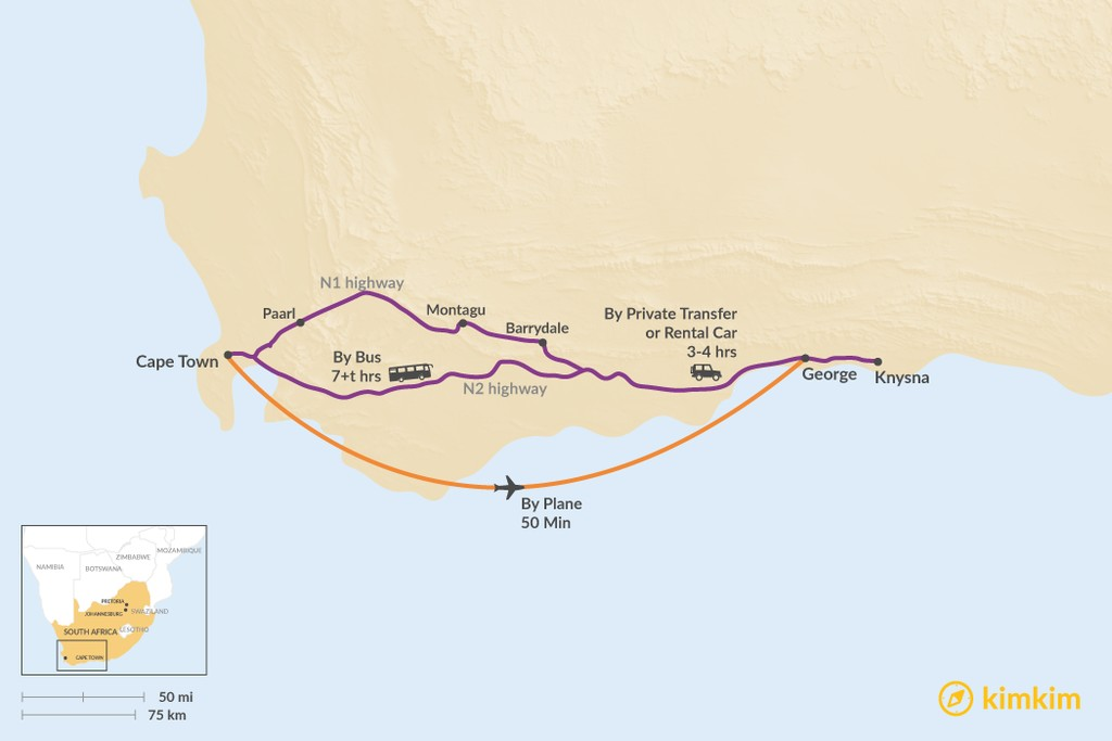 Map of How to Get from Cape Town to Garden Route