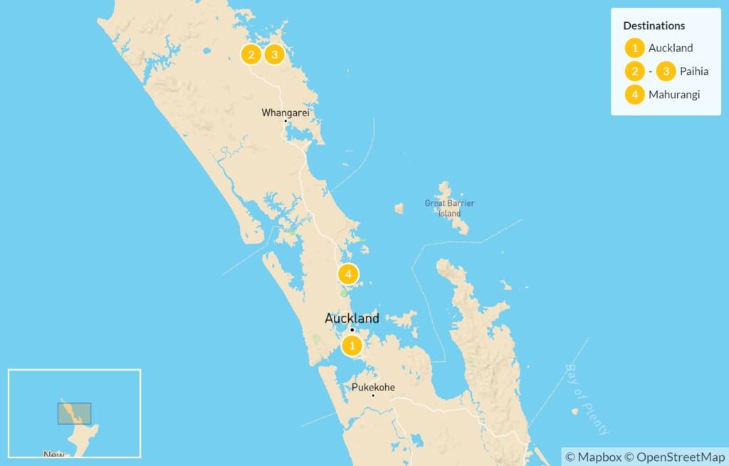 Map of Northern New Zealand: Auckland, Bay of Islands, & Matakana - 5 Days
