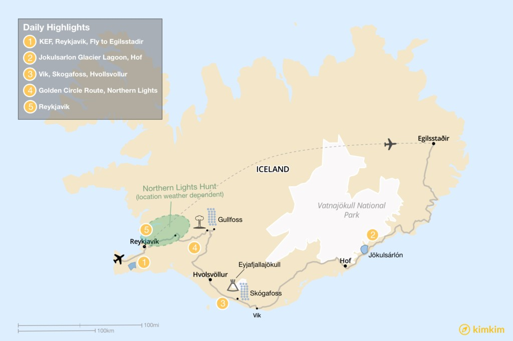 Map of 5 Days of Iceland's Highlights: East to West from Egilsstadir via Jokulsarlon to Reykjavik