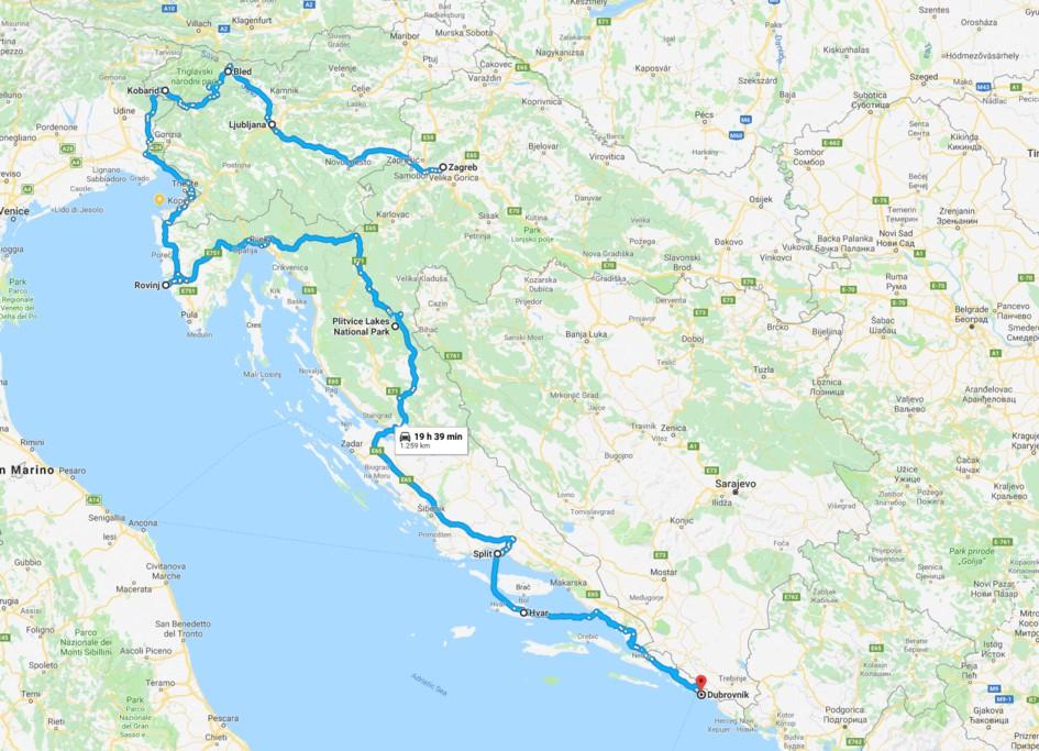 Map of Best of Croatia & Slovenia: Ljubljana, Rovinj, Hvar, & Dalmatia - 14 Days