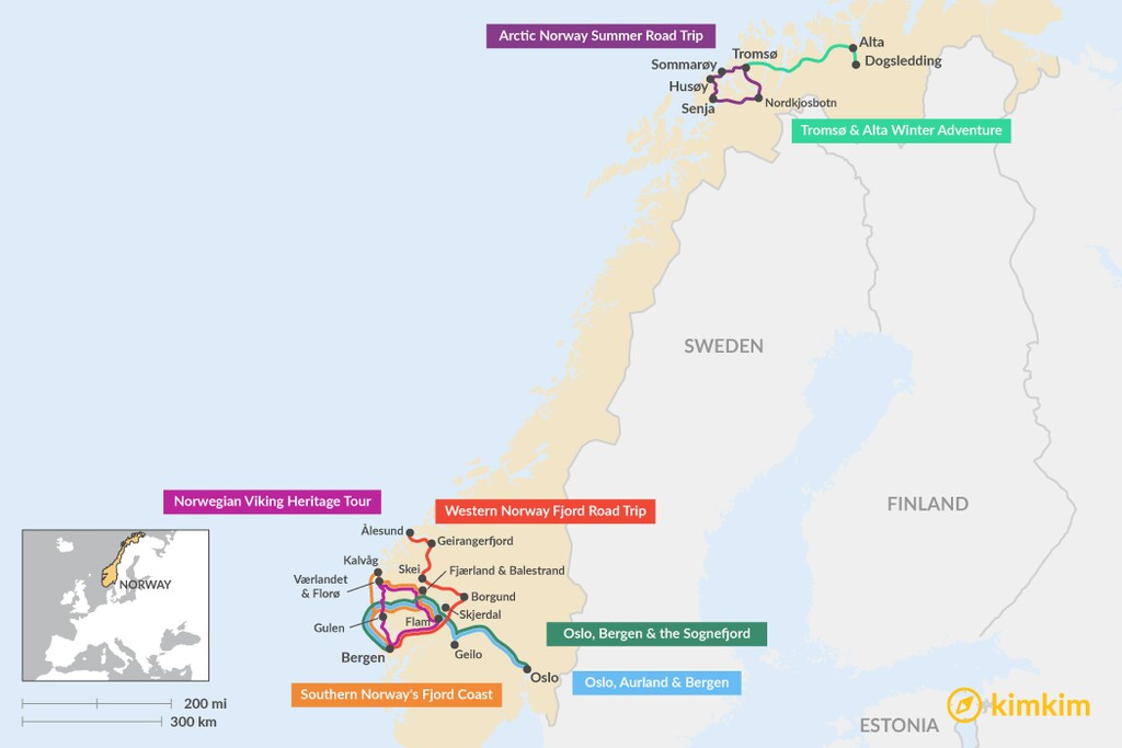 Map of 7 Days in Norway - 7 Unique Itinerary Ideas