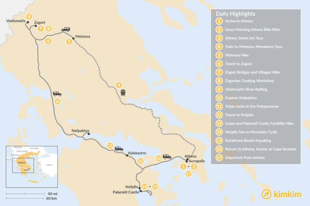 Map of Mainland Greece Adventure Trip - 17 Days